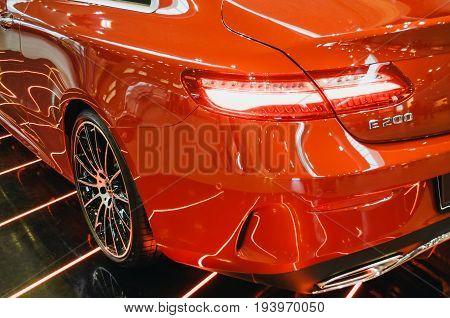 Car Mersedes Benz E-class. Russia. Saint-petersburg. June 2017