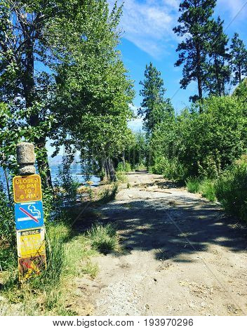 Lakeshore Hiking Trail With Sign