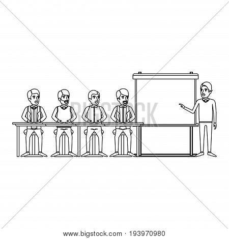monochrome background with men group sitting in a desk for executive male in presentacion business people vector illustration