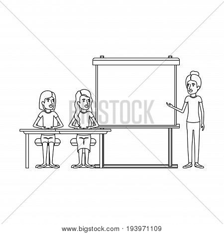 monochrome background with couple of women sitting in a desk for female executive in presentacion business people vector illustration