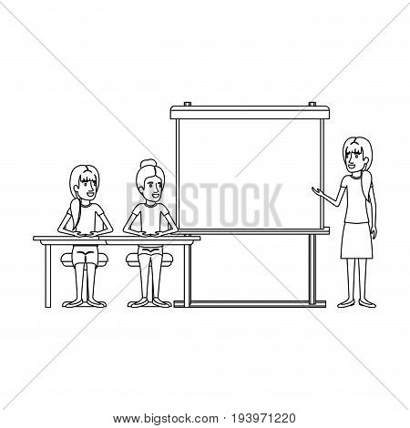 monochrome background with pair of women sitting in a desk for female executive orator in presentacion business people vector illustration