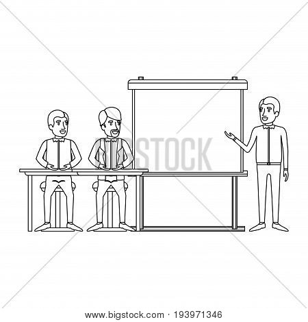monochrome background with pair of man sitting in a desk for executive lecturer in presentacion business people vector illustration