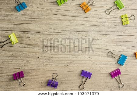 Paper binders in various colors, close up background