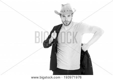 Businessman Or Young Man Wearing Cowboy Hat And Black Jacket