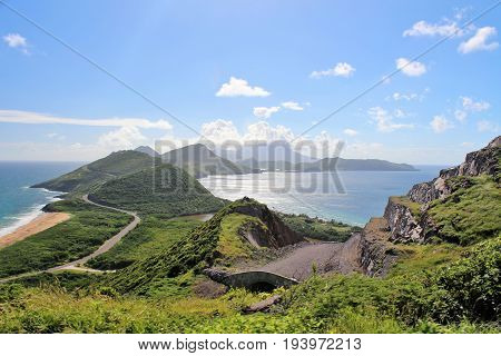 Beautiful scenic view of the ocean and mountains on the island of St. Kitts