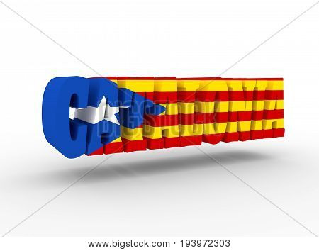 Catalonia word textured by flag of the Catalonia flag. 3D rendering