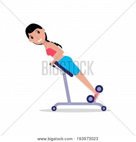 Vector illustration of a cartoon girl swinging her back on a training apparatus. Isolated white background. Exercises for the back. Flat style.
