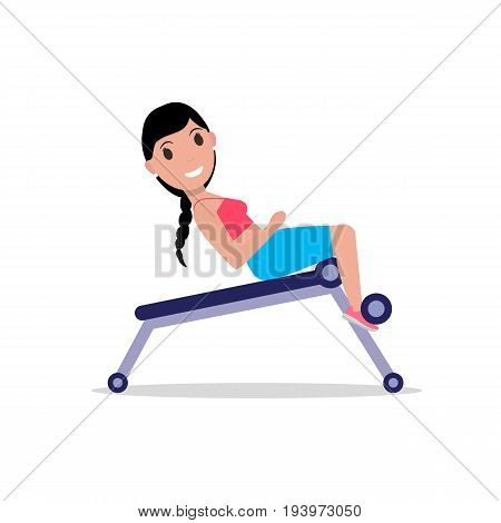 Vector illustration of a cartoon girl swinging a press on a training apparatus. Isolated white background. Woman on a weight loss machine. Exercise for the abdomen. Flat style.