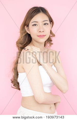 Beautiful Korea Woman Face, Isolated On Pink Background, 20-30 Year Old.