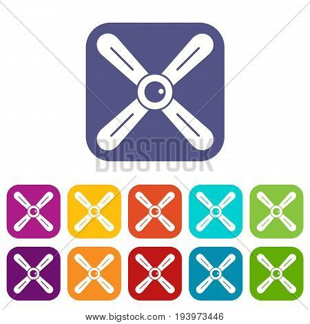 Propeller icons set vector illustration in flat style In colors red, blue, green and other