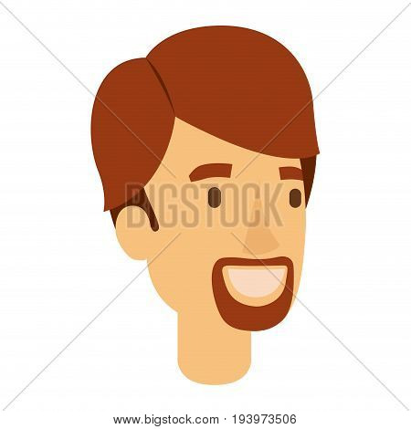 colorful silhouette of man face with red hair and van dyke beard vector illustration