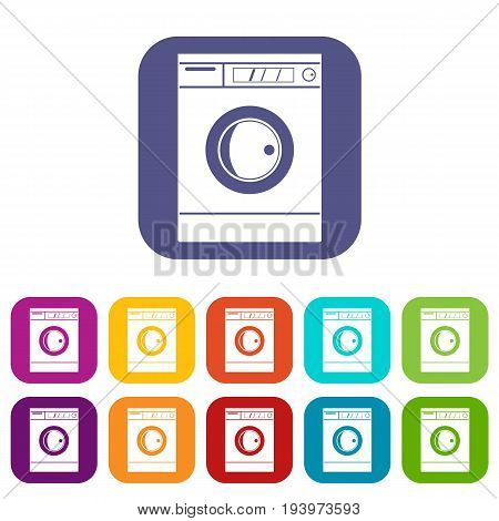 Washing machine icons set vector illustration in flat style In colors red, blue, green and other