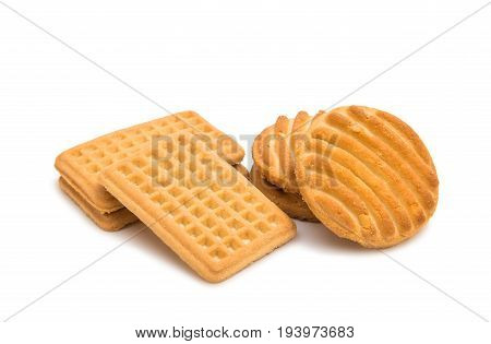 Butter biscuits shortbread isolated on white background