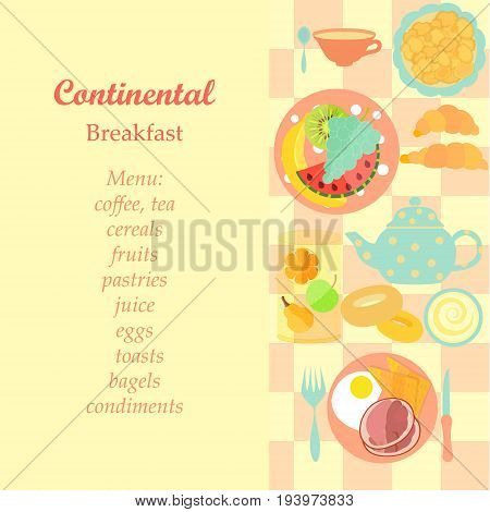 Set of Standard Hotel Continental Breakfast with Menu Text. Vector EPS 10