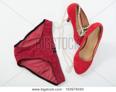 a Women's panties and red heel shoes