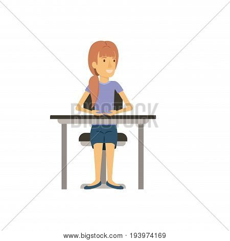 colorful silhouette of woman with ponytail hair and sitting in chair in desktop vector illustration