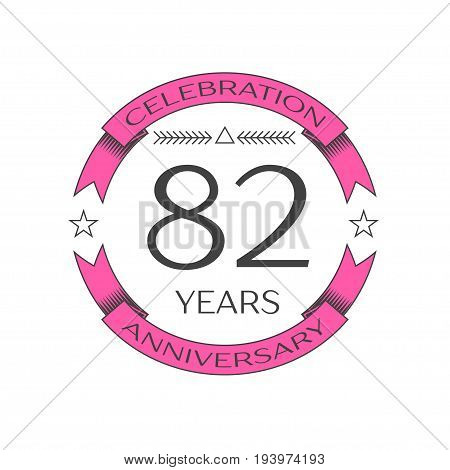Realistic eighty two years anniversary celebration logo with ring and ribbon on white background. Vector template for your design
