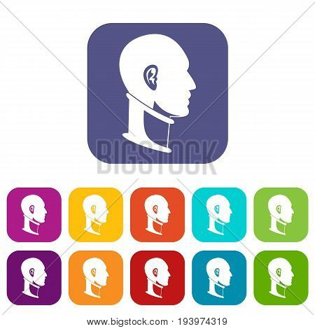 Cervical collar icons set vector illustration in flat style In colors red, blue, green and other