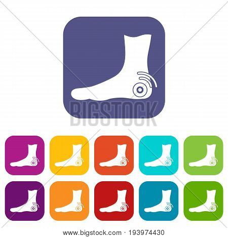 Foot heel icons set vector illustration in flat style In colors red, blue, green and other