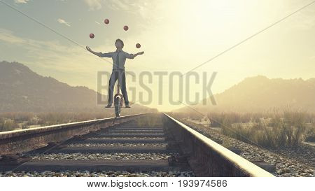 Juggler is balancing on railroad with a bike and balls. This is a 3d render illustration