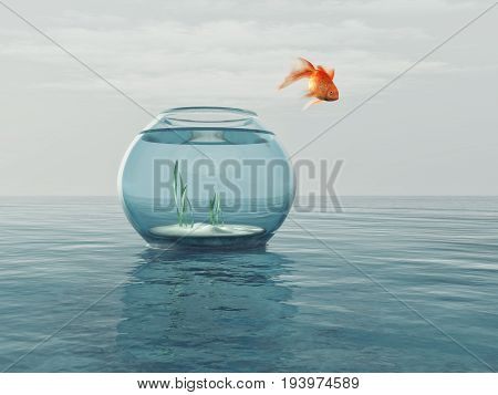 Goldfish in a bowl jumping in the sea. This is a 3d render illustration