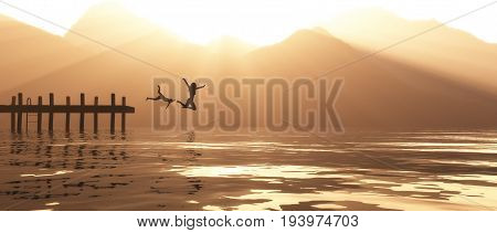Young couple jumping from the pier in the lake. This is a 3d render illustration