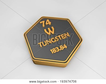 tungsten - W - chemical element periodic table hexagonal shape 3d render