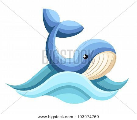 Cartoon Whale Vector Card Cute Happy Ocean Whale. Lovely Childish Card. Smiling Whale. Web Site Page