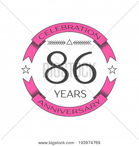 Realistic eighty six years anniversary celebration logo with ring and ribbon on white background. Vector template for your design