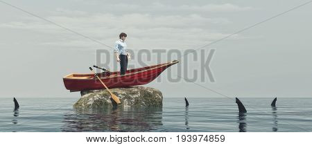 Young man in a boat on a rock surrounded by sharks. This is a 3d render illustration