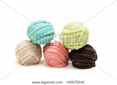 assortment Cake Pops on a White Background
