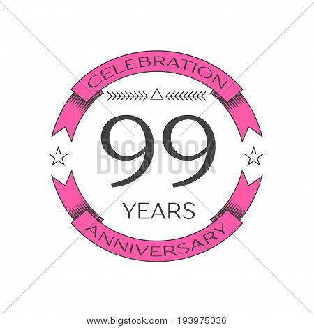 Realistic ninety nine years anniversary celebration logo with ring and ribbon on white background. Vector template for your design