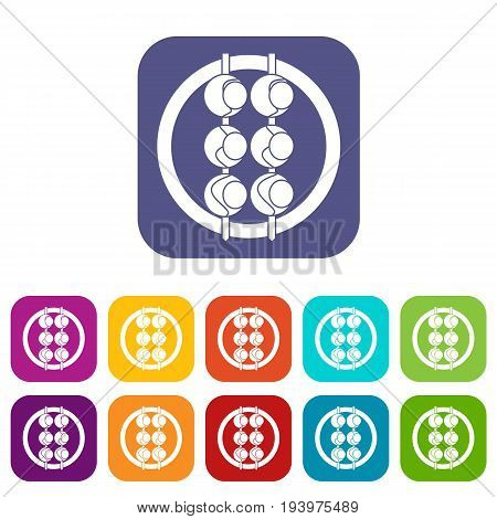 Asian shashlik icons set vector illustration in flat style In colors red, blue, green and other