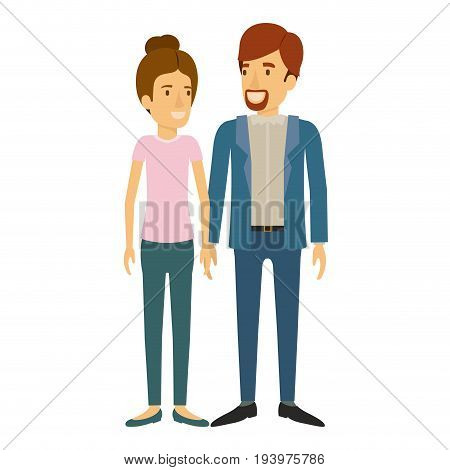 colorful silhouette of man and woman standing and her with light brown hair collected and him in casual clothes and beard van dyke vector illustration