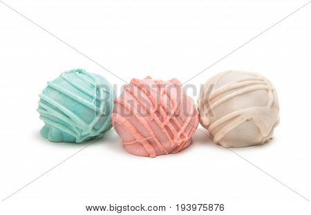 Colorful Cake Pops on a White Background