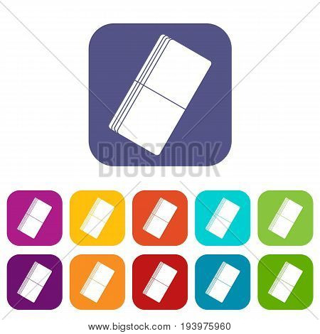 Eraser icons set vector illustration in flat style In colors red, blue, green and other
