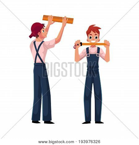 two construction worker, builder in uniform showing measuring tape, cartoon vector illustration isolated on white background. Full length portrait of smiling builder with measuring tape, front view