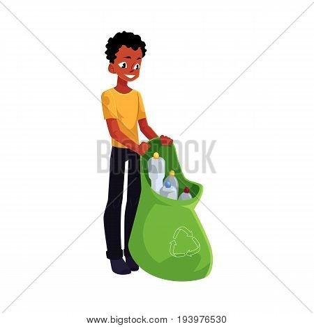 Black man holding bag of plastic bottles, garbage recycling, cartoon vector illustration isolated on white background. Black, African American man with bag of plastic bottles, garbage collection