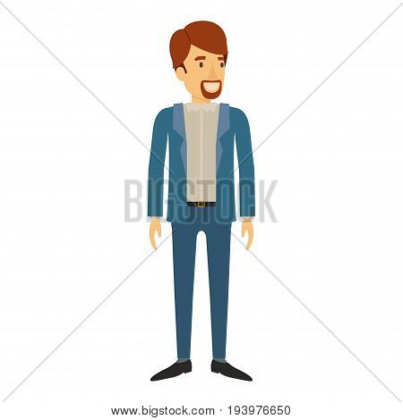 colorful silhouette of man stand with van dyke beard in casual clothes and brown hair vector illustration