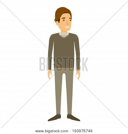 colorful silhouette of man stand in formal clothes and brown hair in side fringe vector illustration