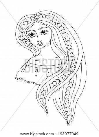 Portrait of a beautiful girl with long hair. Mono color black line art element girl for adult coloring book page design.