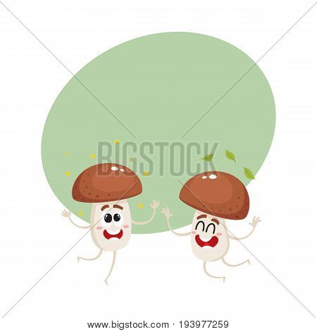 Two funny porcini mushroom characters jumping from happiness, cartoon vector illustration with space for text. Couple of happy, excited porcini mushroom characters jumping, throwing leaves