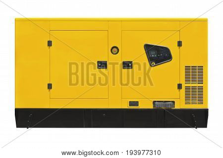 Yellow big generator on a white background