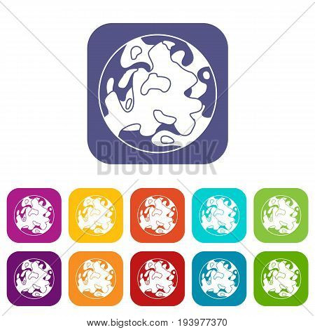 Small planet icons set vector illustration in flat style In colors red, blue, green and other