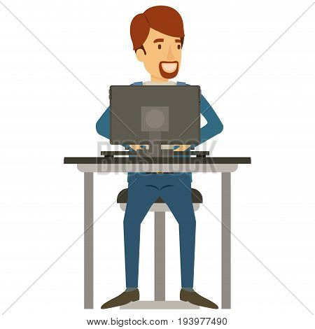 colorful silhouette of man with van dyke beard in casual clothes and brown hair and sitting in chair in desk with computer vector illustration