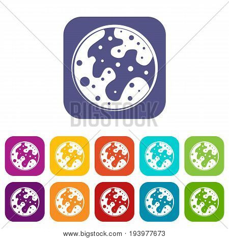 Mars icons set vector illustration in flat style In colors red, blue, green and other