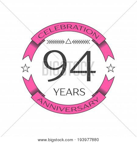 Realistic ninety four years anniversary celebration logo with ring and ribbon on white background. Vector template for your design