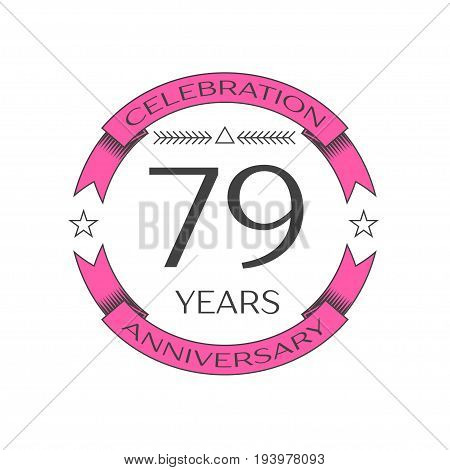 Realistic seventy nine years anniversary celebration logo with ring and ribbon on white background. Vector template for your design