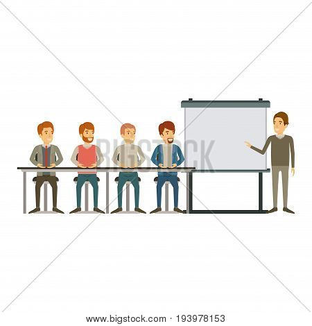 white background with men group sitting in a desk for executive male in presentacion business people vector illustration