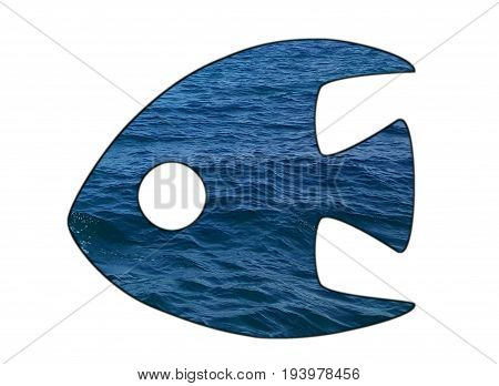 A fish shape filled with seawater. White background